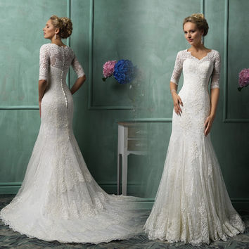 Scoop Neck Half Sleeves Court Train Mermaid Lace Long Wedding Dress