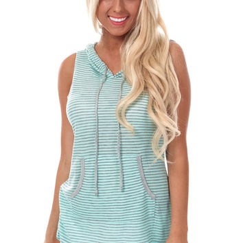 Mint and Grey Stripe Sleeveless Hoodie