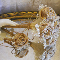 Bridesmaid & Groomsman Set, Burlap Flower Wand Bouquet with Matching Boutonniere. Made to Order.