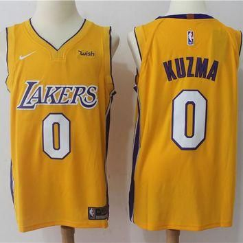 Best Sale Online Nike NBA Basketball Jersey Los Angeles Lakers # 0 Kyle Kuzma Gold