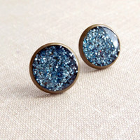 Blue Glitter Stud Earrings Blue Galaxy Stud Earrings Sparkle Earrings Shimmer Saphire Gift For Her Women
