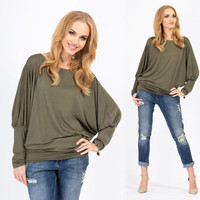Batwing Sleeve Plus Size Tops Round-neck T-shirts [6338699012]