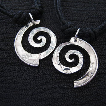 Interlocking Quarter,  Spiral Infinity Necklaces, Hand Cut Coins,  Friendship, Eternal Love, BBF.
