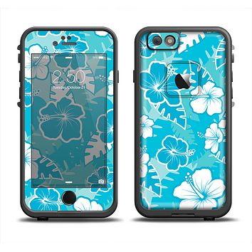 The Blue & White Hawaiian Floral Pattern V4 Skin Set for the Apple iPhone 6 LifeProof Fre Case