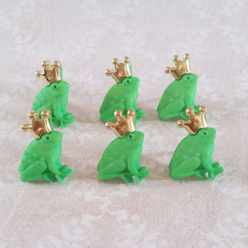 Green Frog with Crown, Prince, Fairytale, Thumbtacks Pushpins for Memo Boards, Cork Boards, Cubicle Decor, Dorm Decor, Teacher Gift