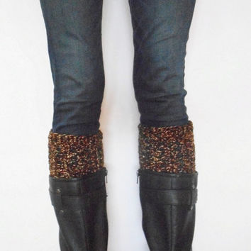 Textured Crochet Boot Cuffs in Brown Confetti, ready to ship.