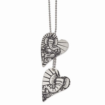Stainless Steel Ganesh Heart Pendant On Necklace