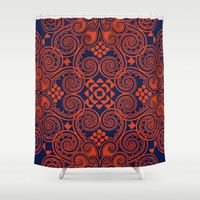Decographic - Navy Shower Curtain by Budi Satria Kwan