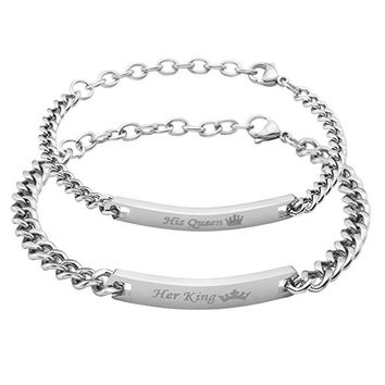 Stainless steel ID Lover's bracelet Her King His Queen & Her Beast His Beauty Bangle Jewelry Provide DIY Engrave Service