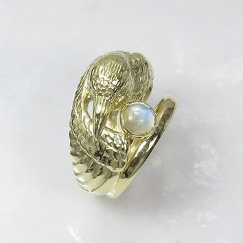 14K Gold Raven Ring with Moonstone - Pagan Wedding Ring - Double Ring - Engagement and Wedding Ring Set -  Bird Ring - Original Wedding Ring