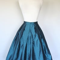 Shimmering 1950's metallic blue pleated circle skirt in geometric teal taffeta petite hand made fit and flare high waist size XS size 4