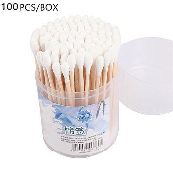 100pcs Double Head Women Beauty Makeup Cotton Swab Cotton Buds Make Up Wood Sticks Nose Ears Cleaning Cosmetics Health Care Tool