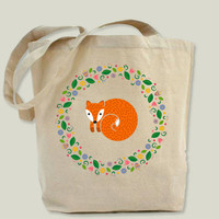 Spring Fox Tote Bag by swissette on BoomBoomPrints