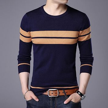 2017 men long sleeve round collar stripe knit sweater color matching cultivate one's morality