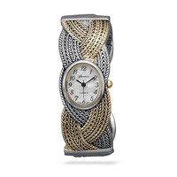 CleverEve Designer Series Oxidized Two Tone Braided Fashion Cuff Watch w/ Mother of Pearl Watch Face - Sales Cache