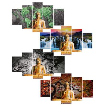 5pcs/set Excellent No Frame Modern Art Wall Decor Art Buddha Oil Painting On Canvas Large Wall Picture Home Decoration Gift