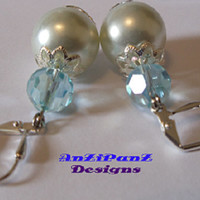 Sold~ Sold~ Faux Pearl &  Lt Blue Faceted Crystal Earrings