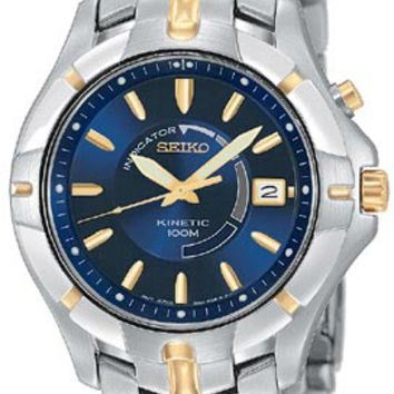 Seiko SKA402 Men's Kinetic Two Tone Gold Plated Blue Dial Watch