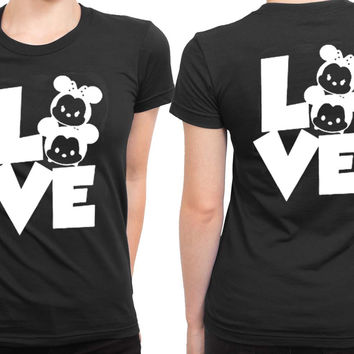 Mickey Minnie Disney 2 Sided Womens T Shirt