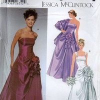 Simplicity Jessica McClintock Sewing Pattern Formal Gown Prom Wedding Dress Strapless Full Skirt Ruffle Flounce Uncut FF Plus Size 12 to 18