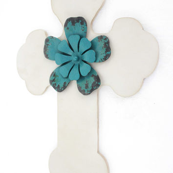 Rustic White Cross Wooden Wall Decor