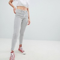 Pull&Bear striped freyed hem skinny jean in stripe at asos.com