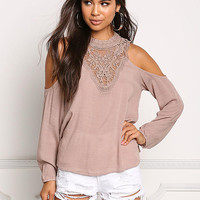 Mocha Cold Shoulder Embroidered Crepe Blouse