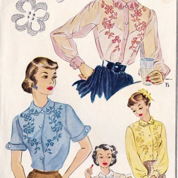 """1950s Misses Blouse with Embroidery Transfer Vintage Sewing Pattern McCall's 1651 bust 30"""""""