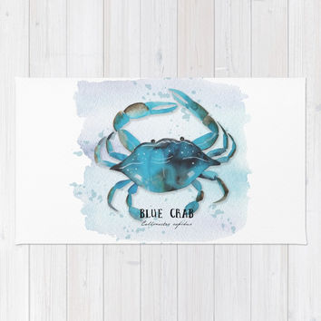 blue crab Rug by Sylvia Cook Photography