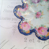 Vintage Handpainted Cobalt Blue Candy Dish Thank You Birthday or Housewarming Gift Inspiration