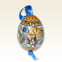 Ceramic Egg, Easter Egg with blue, yellow, green Flower motives. Spring Colors. Haban Ceramic. 100% Handmade Pottery. Hand painted Motives.
