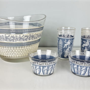5 Piece Mixed Set Grecian Ice Bucket Dip Bowls Glasses, Grecian Hellenic Glasses Bowls, Jeanette Glass Patrician, Slate Blue White Decor