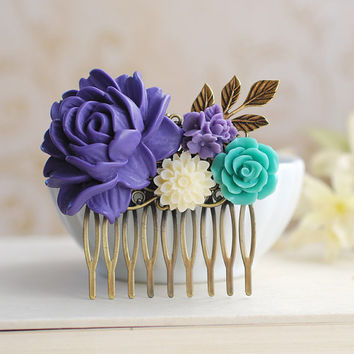 Large Voilet Purple Rose Turqoise blue Ivory Flowers Collage Hair Comb.Purple Wedding Bridal Hair Comb, Bridesmaid Gift, Country Cottage
