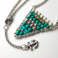 Anchor Charm Necklace Nautical Flag Style with Genuine Turquoise and Silver Beads