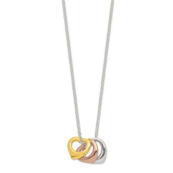 925 Sterling Silver Polished Three-tone Heart Necklace 16 Inch