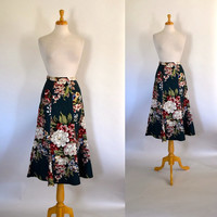 Barkcloth Skirt / Floral Barkcloth Skirt / Tulip Skirt / Summer Skirt / Rockabilly Skirt / Tropical Skirt / Hawaiian Skirt