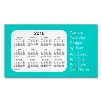 2016 Turquoise Business Calendar by Janz Magnet Magnetic Business Cards (Pack Of 25)