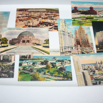 Vintage Chicago Souvenir View Cards, Vintage Post Cards, Vintage Paper