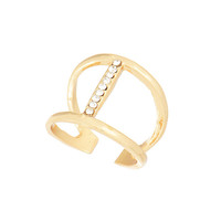 Adjustable Gold Tone Ring with Crystal Rhinestones