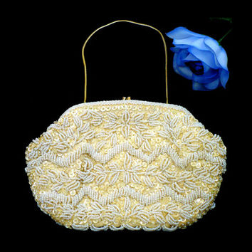 White Pearl Evening Bag, White Micro Beads Off White Iridescent Sequins, Emson Clutch, White Pearl Purse, Bridal Gift Bag, Red Carpet Style