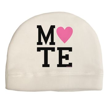 Matching Soulmate Design - Mate - Pink Adult Fleece Beanie Cap Hat by TooLoud