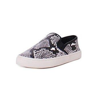 Tory Burch Max Leather Diamond Roccia Print Slip On Sneakers In Roccia