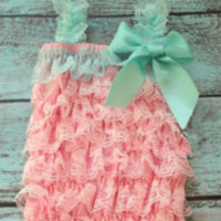 Infant Coral + Mint Lace Petti Romper