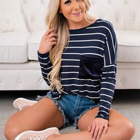 Jordanna Striped Tunic Top (Navy)