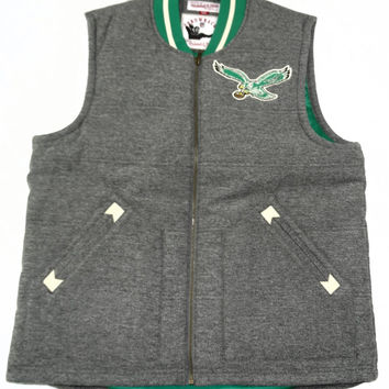 Philadelphia Eagles Mitchell & Ness Throwback Full Zip Vest Size L