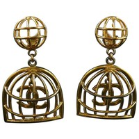 Chanel iconic gold cage earrings 1970s