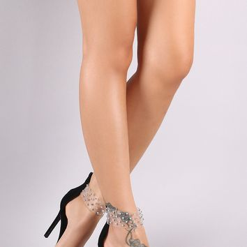 Studded Clear PVC Ankle Cuff Single Sole Stiletto Heel