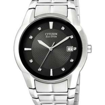 Citizen Mens Eco-Drive Dress Watch - Stainless Steel - Black Dial - Date