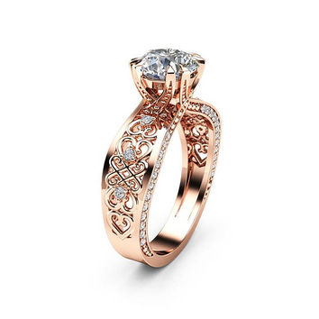 Rose Gold Filigree Moissanite Engagement Ring  14K Rose Gold Filigree Ring Victorian Engagement Ring
