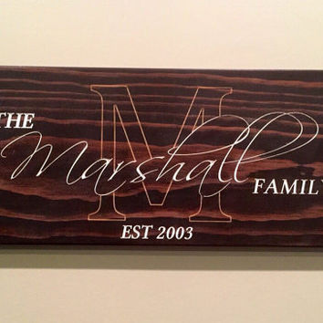 Custom handmade family name sign great for wedding or anniversary gift, new home/housewarming decor, stained wood